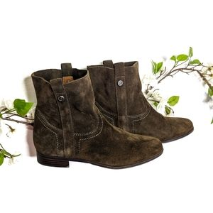 Frye & Co. | Green Sarah Suede Ankle Booties